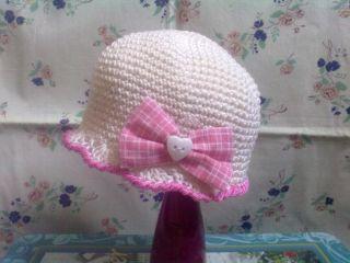 cappello cappellino uncinetto crochet bimba bambina cotone fiocco rosa