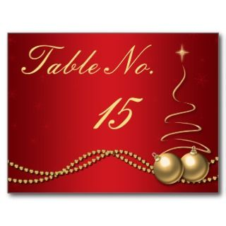 Wedding Table Number   Deep Red & Gold Post Card