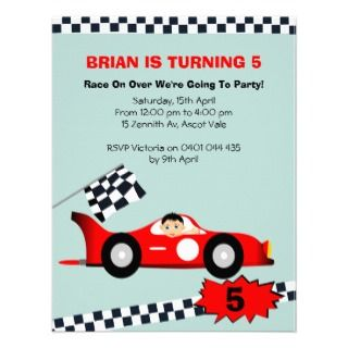 Boys Racing Car Birthday Invitation