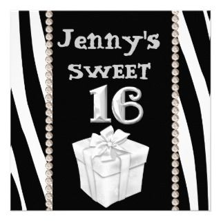 SWEET 16 Chocolate Kisses & Animal Print Party Inv Custom Invitation