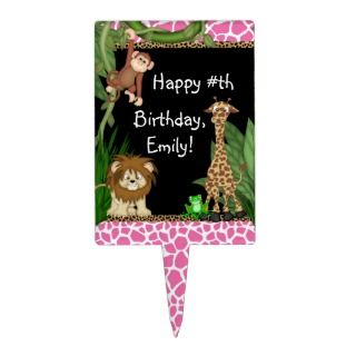 Girls Jungle Safari Birthday Cake Toppers