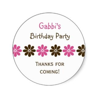 Flower Birthday Party Favor Stickers