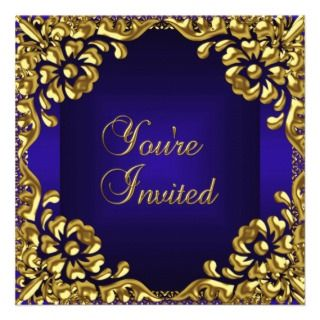 party invite gold royal blue floral invitation all occasions party
