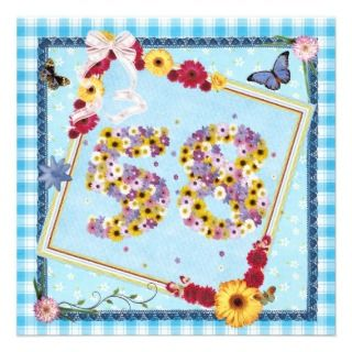 58th Birthday party Invitation flowers,butterflies