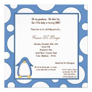 5x7 Penguin Pok a Dot Birthday Party Invite