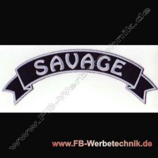 SAVAGE Rückenaufnäher Patch Biker Banner Aufnäher 29cm