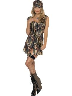 Ladies Fever Army Girl Kostüm Damen Sexy Soldier Fancy Dress Outfit