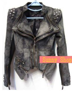 New fashion women Punk Strong spike studded shoulder Denim cropped