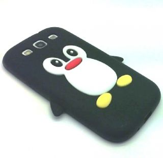BLACK PENGUIN GEL SILICONE PHONE CASE COVER FI SAMSUNG GALAXY S3