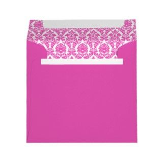 Hot Pink Damask Heart Sticker Envelope Seal