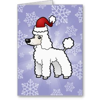 Christmas Standard/Miniature/Toy Poodle puppy cut Greeting Card