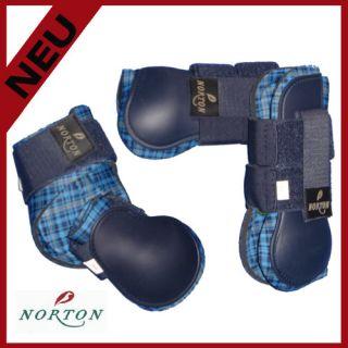 Norton 4er Gamaschenset navy mit Karo blau in Pony