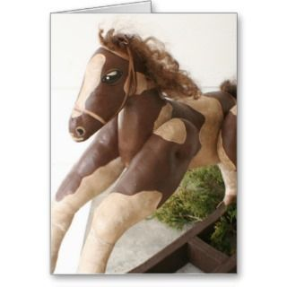card for any horse lover or folk art lover on your christmas card