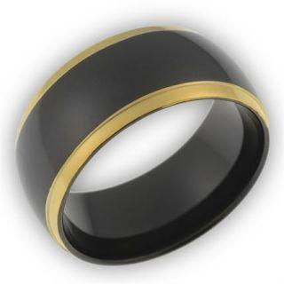 Herren Ring/Ringe aus Edelstahl/schwarz ohne Stein fein mattiert NEU