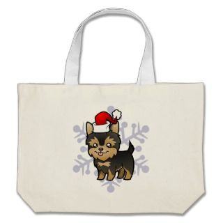 Christmas Yorkie (puppy with bow) bags by SugarVsSpice