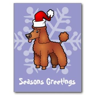 Christmas Poodle (red puppy cut) Post Card