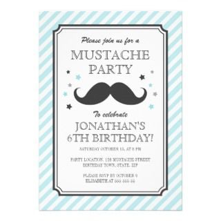 teal stripe mustache bash kids birthday party custom announcements