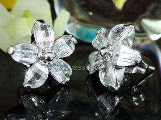 Sparkling Flower CZ Cubic Zirconias Stud Earrings SE437
