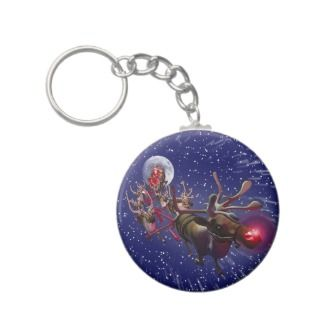 Flying Sana Claus & Rudolph, Red Nosed Reindeer Keychain