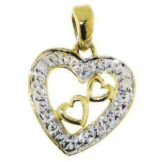 Klassischer 9 Karat (375) Gold Herz Damen   Diamant Anhänger + Kette