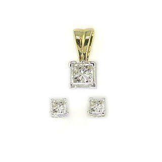 Modernes 9 Karat (375) Gold Damen   Diamant Ohrringe + Anhänger