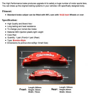 vorne/ Heck Bremssattel Disc Brake Calipers Brembo cover universal