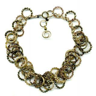 Halskette 10159 Glas Perlen Ringe gold   UVP € 439,90   NEU
