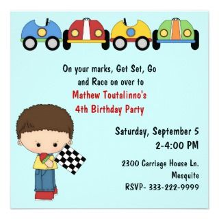 Cute Race Cars Birthday Party Invitation