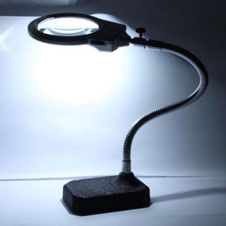5x & 2.5x MAGNIFIER LIGHTED TABLE TOP DESK MAGNIFYING GLASS