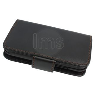 AIO Black Wallet Leather Case For Motorola Defy MB525