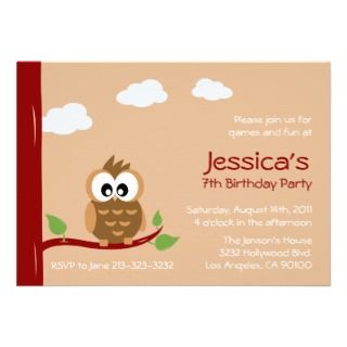 Cute Owl Kids Birthday Party Invitation