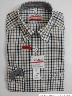 MARVELiS Hemd SLIM FIT extra lange Ärmel 6714.69.67 Button Down braun