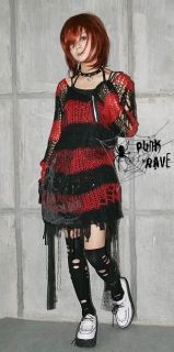 New Arrival VISUAL Unisex PUNK GOTHIC ROCK Kera Stripe Sweater EMO