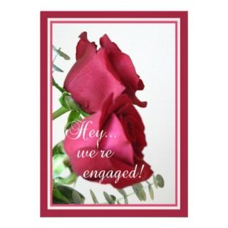 Engagement Party Two Red Roses+Poetry Invitations