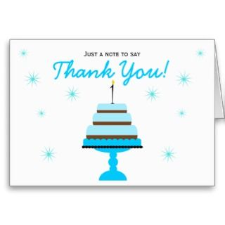 Blue Tiered Cake 1st Birthday Thank You Note Card
