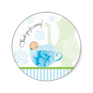 Baby Shower Tea Party Favor Sticker  Boy