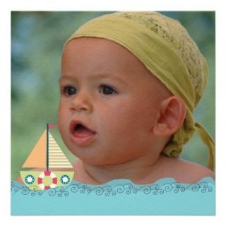 Sailing Boat Boys Birthday Party Photo Invite by Pip_Gerard