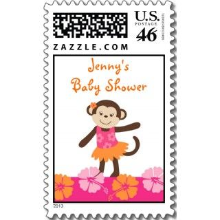 Hula Monkey Luau Baby Shower Postage Stamps stamps by little_prints