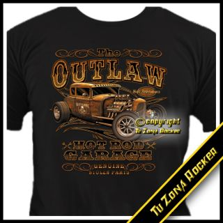 Camiseta t shirt Hot Rod Car The Outlaw   Harley Custom Chopper Rocker