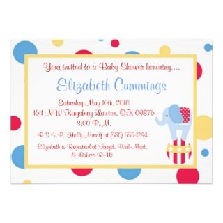 circus Baby Shower invite cute fun sweet simple