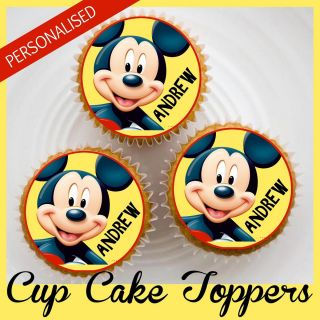 MICKEY MOUSE Rice Paper Cup Cake Toppers.Personalised with chosen Name
