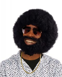 Black Afro Wig & Beard Fancy Dress Set