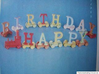 14 teiliger Holz Zug   Happy Birthday ca. ca. 80 cm lang ca. 7 cm