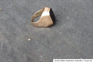 Ring Herrenring Goldring Siegelring 333 Gold schwarzer Stein alt