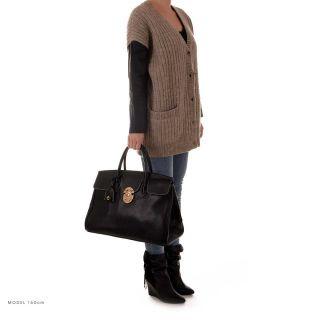 ROUVEN Black Schwarz & Gold JANE 40 Tote Bag Leder Tasche Handtasche