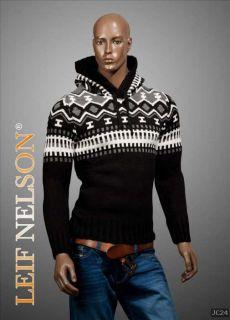 Leif Nelson Fetter Kapuzen Pullover Black&White Pulli Norweger Style