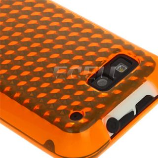 ORANGE DIAMOND TPU SILICONE GEL SKIN CASE COVER FOR MOTOROLA DEFY