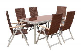 ... Aluminium Geflecht Sitzgruppe Garnitur Gartenmöbel Teak Braun ...