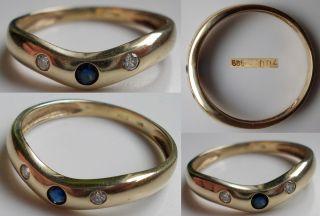 585 Gold Ring mit Saphir und 0,04 ct. Diamanten Größe 56