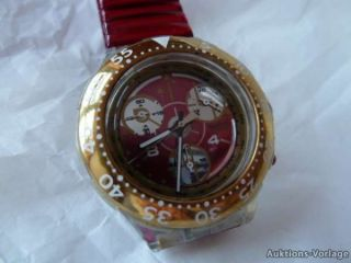 SWATCH   ARMBANDUHR   rot gold   mit Stoppuhr + Flexband (12)